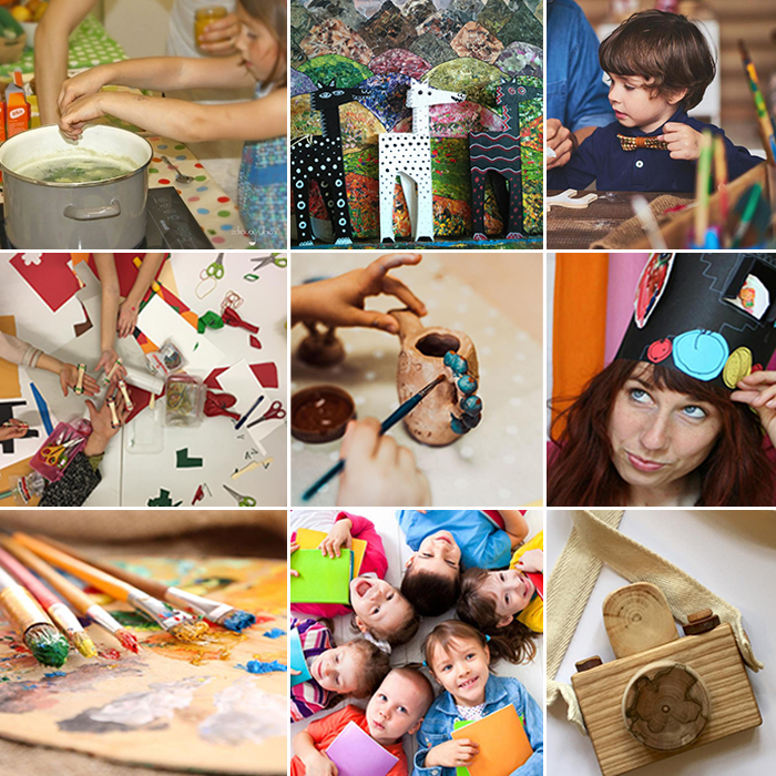Collage of photos with different creative themes (painting, drawing,  cooking etc.).